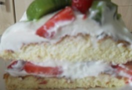 Sweet eggy creamy fruit cake